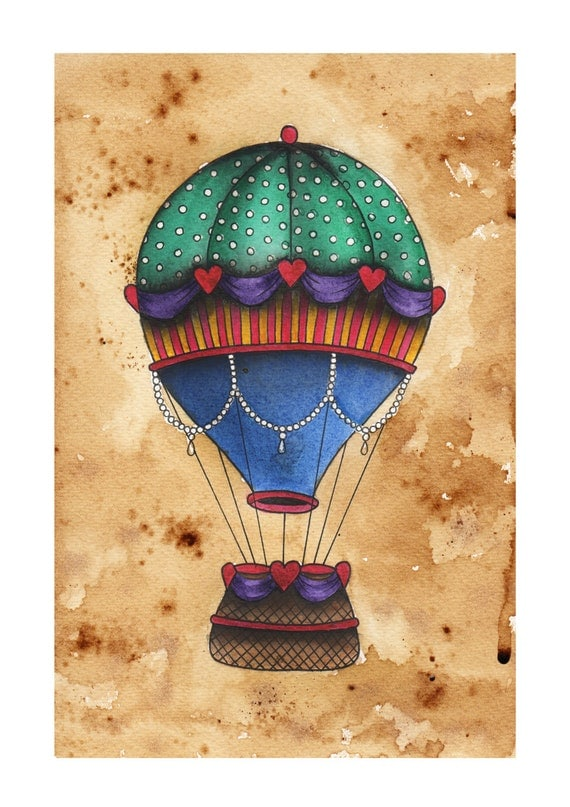 Items similar to Hot Air Balloon watercolour painting on Etsy