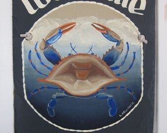 Handpainted Personalized Blue Crab Nautical Slate Welcome Sign