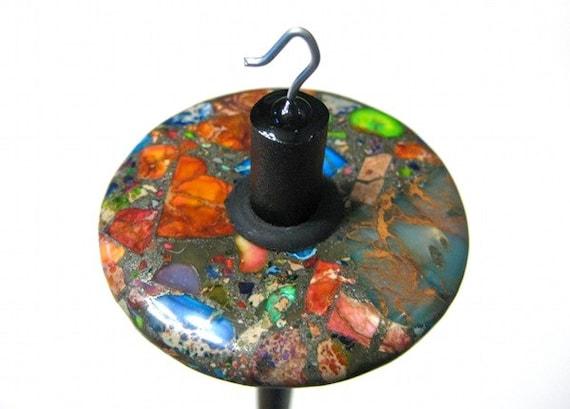 Multicolored Variscite in Pyrite - Top Whorl Drop Spindle - Unique