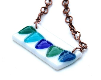 Fused Glass Bunting Flag Pendant