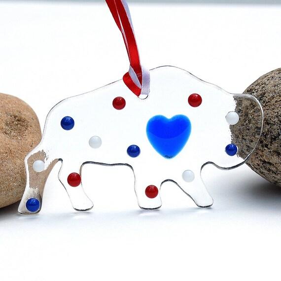 Fused Glass Buffalo Suncatcher - Ornament