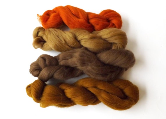 Merino  wool tops - 21 micron - 100g - 3.50z - spinning - felting - Browns