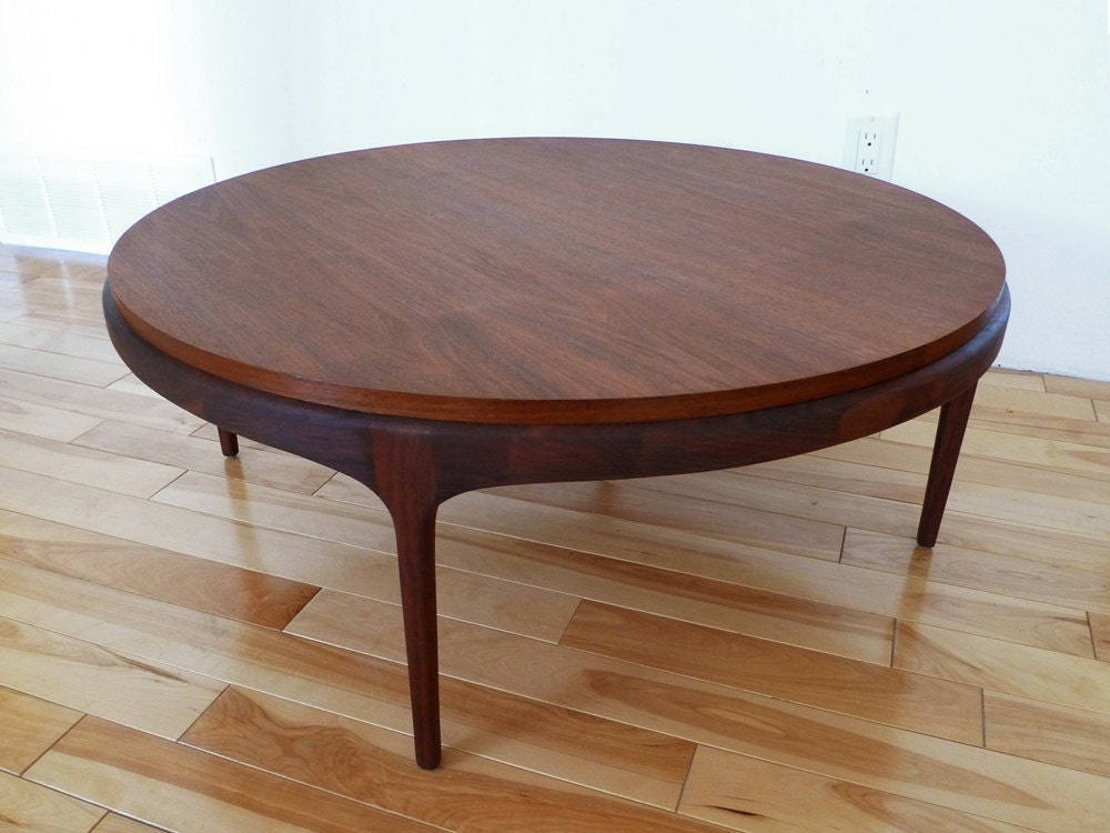 RESERVED For Kate Mid Century Round Walnut Coffee Table By PopBam