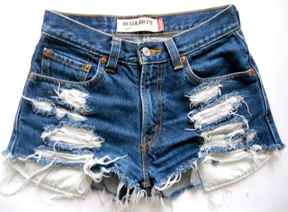 Custom Vintage Levi High-waisted Dark Blue Denim Shorts