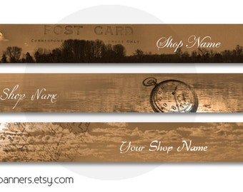 ETSY SHOP BANNERS Vintage Sunset Etsy Shop Banner and Avatar