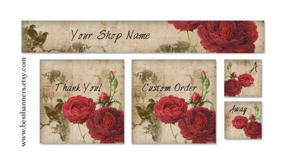 ETSY SHOP BANNERS Vintage Red Rose Etsy Shop Banner Set