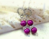 RESERVED Earrings womens jewelry eggplant purple bead coral earrings clear crystal silver chain link slimming elongated dangles TAGT tenX