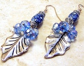 Earrings pierced womens jewelry blue white ceramic Bohemian gypsy dangle silver leaf denim blue Swarovski gems TAGT tenX
