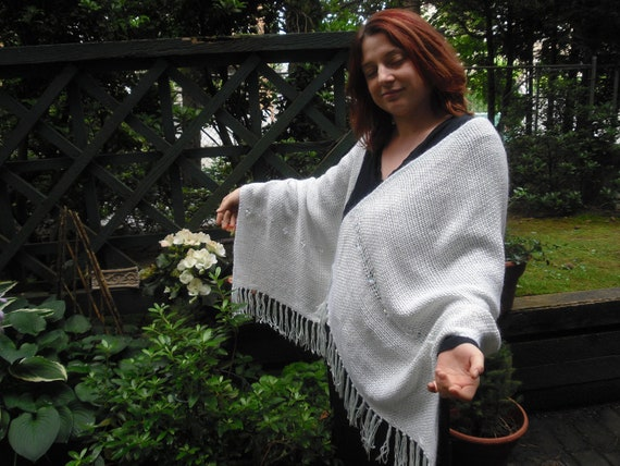 A Perfect Trio - Mink, Silk & Crystals in a Handwoven Shawl