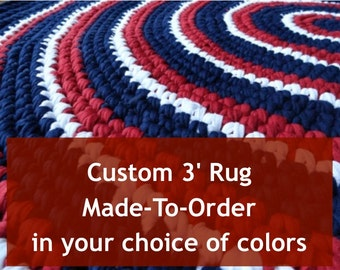 Custom Rag Rug 3' Made-To-Order from Recycled Materials