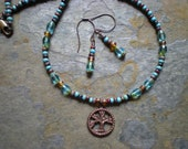 Blue Dream Tree of Life Beaded Necklace and earring set.