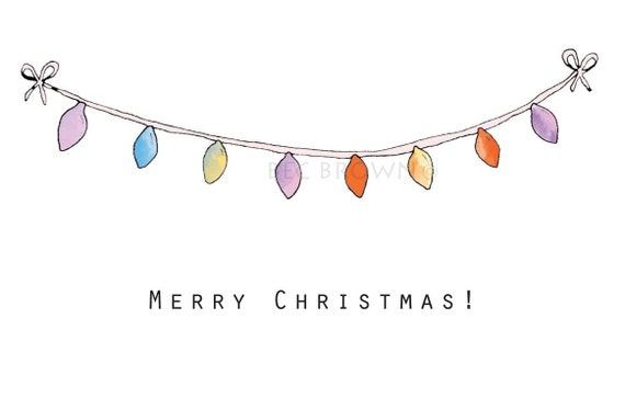 Items Similar To Fairy Lights Bunting Christmas Card From