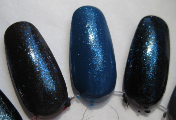 Aqua Rhapsody Blue Shimmer Sparkle Fleck Top Coat Custom Nail Polish 15mL