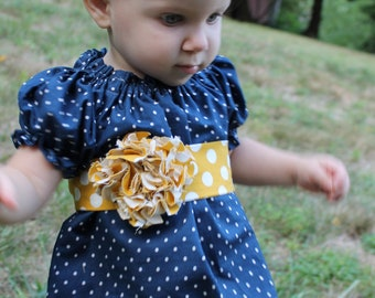 Girls Peasant Dress - Navy Blue and Yellow Polka Dots - Made to Order Sizes 6Months-6t
