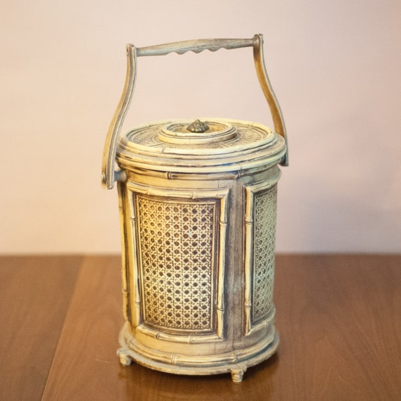 Vintage bamboo ice bucket, faux bamboo, Chinoiserie, Hollywood Regency