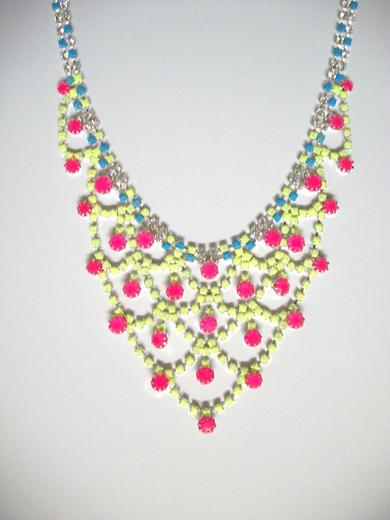SALE Beautiful One of a Kind Hand Painted Bib Necklace