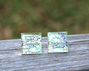 Custom Wedding Cufflinks - Destination Honeymoon Men's Square Vintage Map Gift For Groom or Father of the Bride Wedding Party Resin
