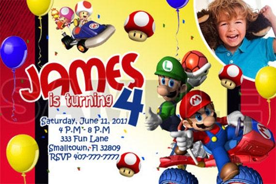 Mario Kart Birthday Party Photo Invitations Printable – Mario Kart Party Invitations