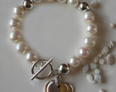 Bold White Pearl Bracelet - Fresh Water Pearls with Sterling Silver Hearts -- The Simple Elegance Bracelet