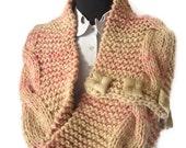 Knit Cowl . Eternity Scarf or Infinity Cowl . Chunky Scarf . Handmade Scarf . Cream Pink . OOAK
