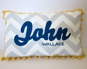 Baby pillow in light gray chevron and navy blue script. Personalized with name.