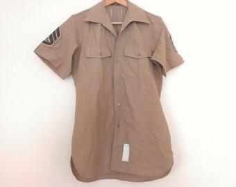 60s vintage military shirt men medium, some small dirt spots