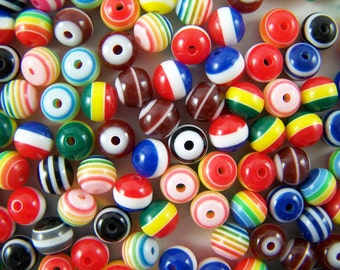 50 Colorful Resin Beads - 8 mm multiple colors