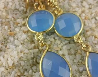 Creamy Blue Chalcedony Bezeled in Gold Earrings