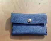 Minimalist Medium Light Blue Calfskin Leather Wallet