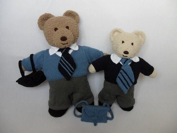 TEDDY Bear CLOTHES Boys School Uniform knitting by Laineknits