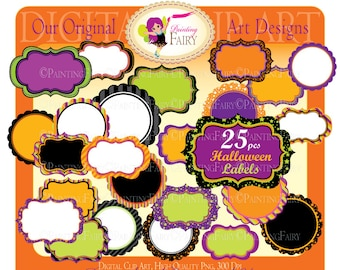 25 Digital Labels Halloween Clipart Embellishments Scalloped Clip Art Frames Scrapbooking  DIY images Personal & Commercial Use pf00044-11