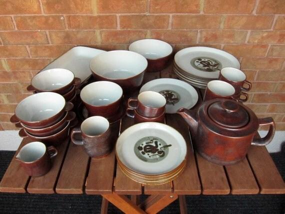 RESERVED 60s Mid-Century Desiree Denmark Thule Danish Stoneware Dinnerware Set Service Hand-Painted