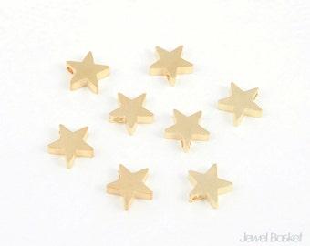 Metallic Star Bead - Matte Gold Star / 8.5mm x 8.5mm / PMG001-B (8pcs)
