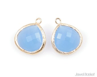 MARKDOWN - SIBG007-P (2pcs) / Ice Blue Color and Polished Gold Framed Glass Pendent / 15mm x 18mm