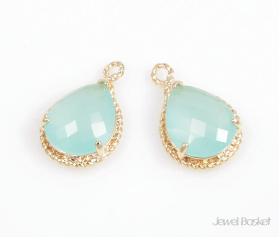 2pcs - Cloudy Mint Glass and Gold Framed Teardrop Pendant / mint / ice mint / 16k gold plated / glass /  12 x 18mm / SMTG012-P