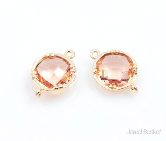 Light Peach Color and Gold Framed Round Connector - 2pcs light peach color glass jewelry connector, jewelry connector / 9 x 14mm / SLPG008-C
