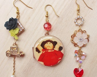 Dressed for A Ball Trio Earrings - whimsical romantic jewelry - Cabbage Patch cabochon, royal carriage charm, vintage locket & rose cabochon
