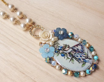 Winter Blue Flower Fairy Statement Necklace - romantic jewellery - with Flower Fairy resin pendant, rose cabochon, crystals & velvet ribbon