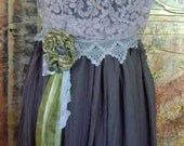 Upcycled, Reconstructed Halter Dress with lace, ribbon, and  flower accents OOAK