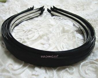 20pcs Black  Satin Metal Headband  5MM Wide