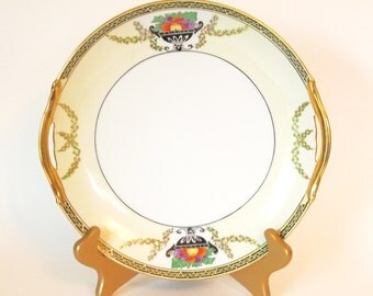 Antique Art Deco Plate |  Noritake M Nippon Hand Painted Porcelain Cake Serving Plate with Gold - Circa 1920-1930