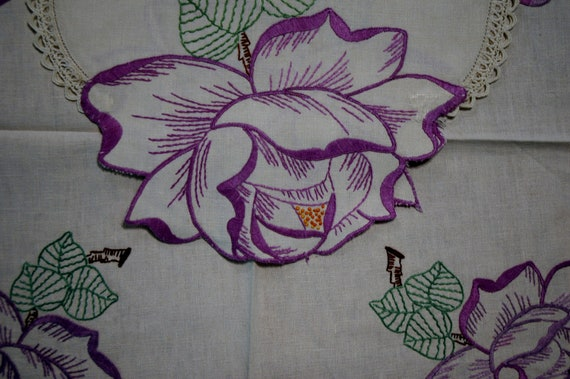 Roses are purple, pair of two vintage linen dresser scarves, embroidered with crochet edging.