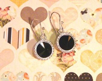 Jet Black Swarovski Crystal Earrings on Sterling Silver Ear Wires Rivoli Crystals