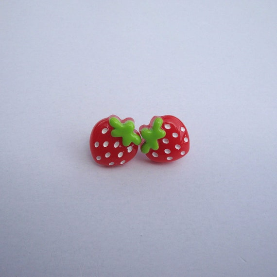 Sweet Berry Earrings - Strawberry Surgical Steel Studs, Post, Summer, Gift under 10