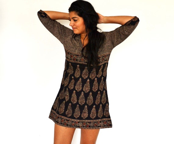 The Maelu Tunic Dress in Tribal Chevron - Hand Block Printed, Natural Vegetable Dyes, Cotton
