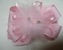 Sweet Pink Princess Hair Bow Pink Marabou Over the Top Boutique Toddler Party Girl Casual Pageant Wear