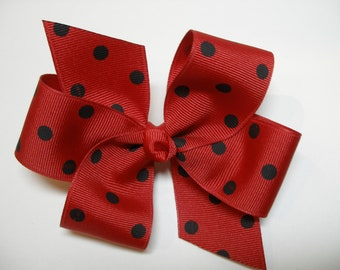 Minnie Mouse Polka Dot Hair Bow Simple Lady Bug Red and Black Traditional Basic Classic Style Toddler