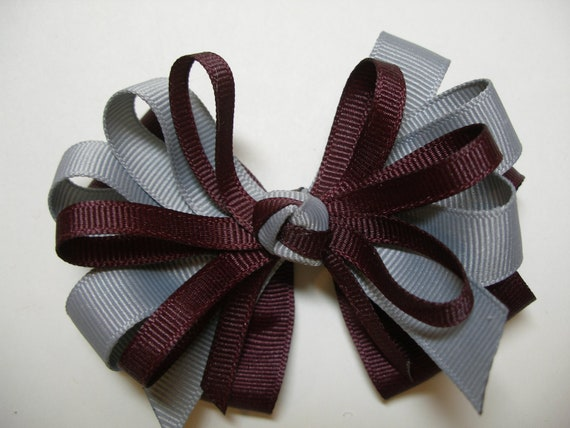 Burgundy Maroon Wine Gray Grey Hair Bow Back to School Uniform Boutique layered Toddler Girl Grosgrain Handmade