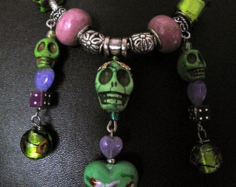 Day of the Dead Necklace - Skelly with Charms