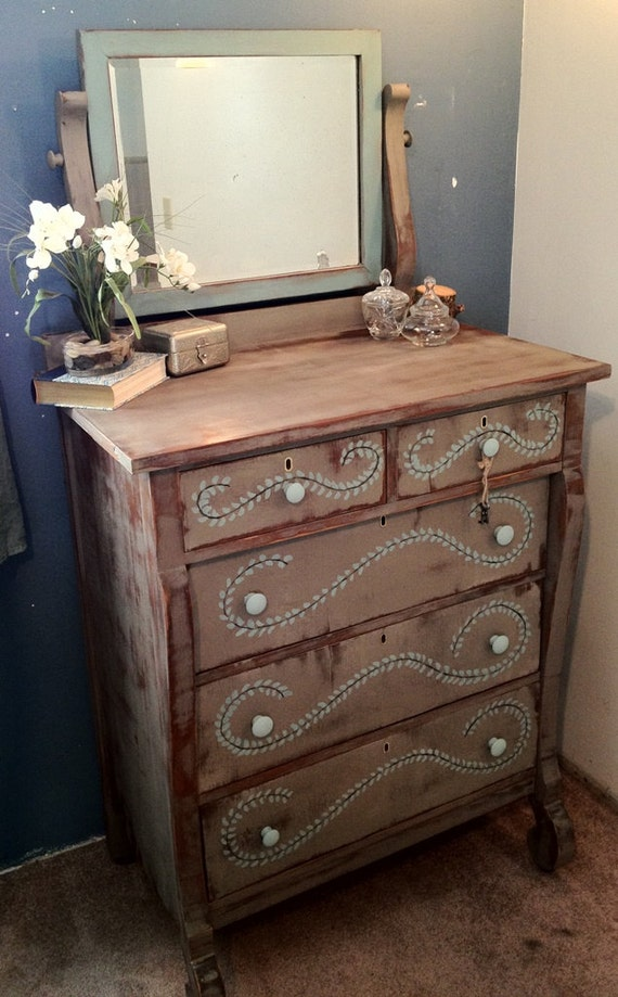 Antique Empire Tall Dresser With Mirror